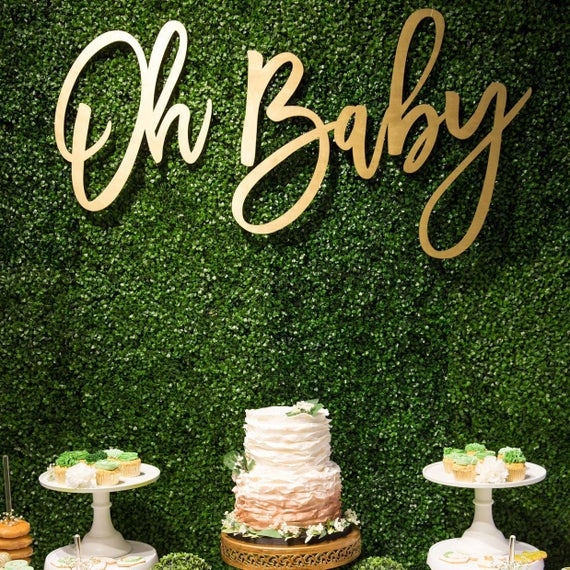 Wood Oh Baby Shower Sign