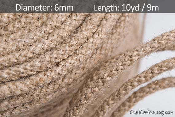 Braided jute cord 6mm. Natural jute twine. Burlap jute rope. Plain twine. Gift wrapping. Craft cording. Hemp cord. Vintage jute cord / 10yd