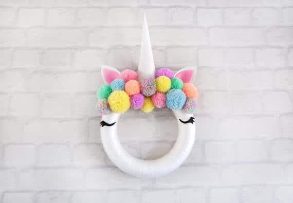 Unicorn Pastel Hanging Pom Pom Wreath
