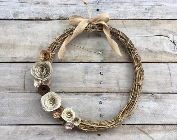 12 inch Farmhouse Vine Wreath with Book Page and Brown Flowers