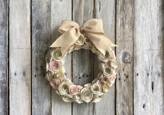 Paper Flower Book Page and Blush Rose Wreath 11""