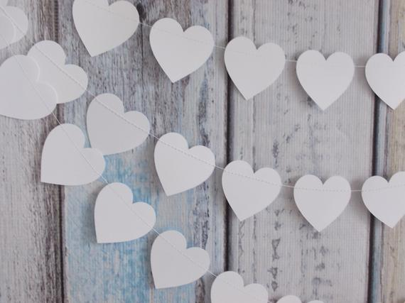 White Heart Garland Party Decoration