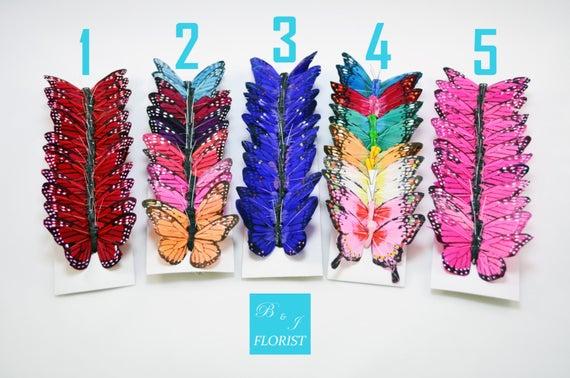 """12 Artificial Butterflies -3"""" Assorted Butterfly"""