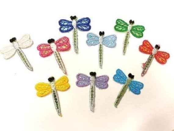 CraftbuddyUS 9 Mixed Fabric Dragonfly Motifs Iron On, Stick On, Sewing, Embroidery, Patches