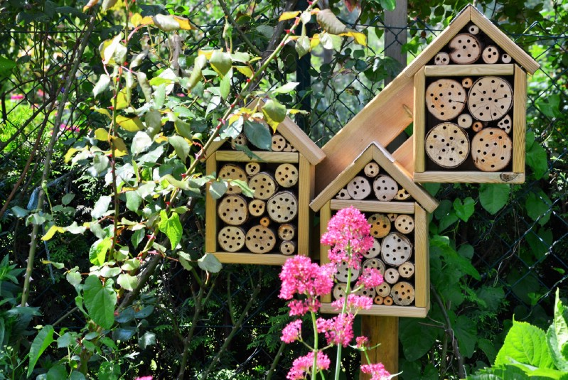 Simple drilled log bee hotels in the garden
