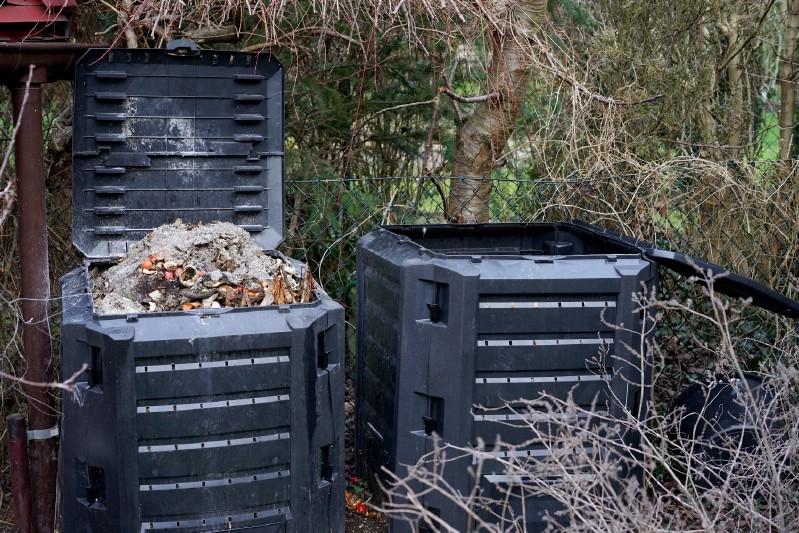 Wood ash used in compost bin