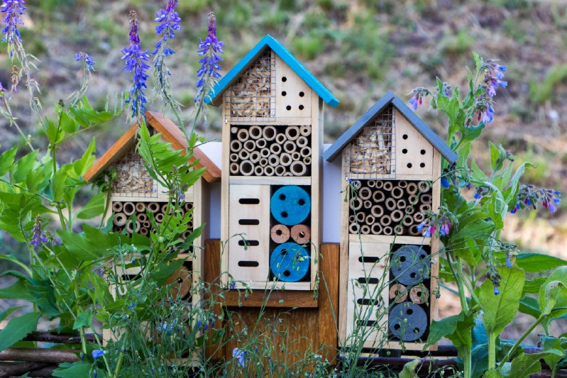 Colorful blue bee hotels.