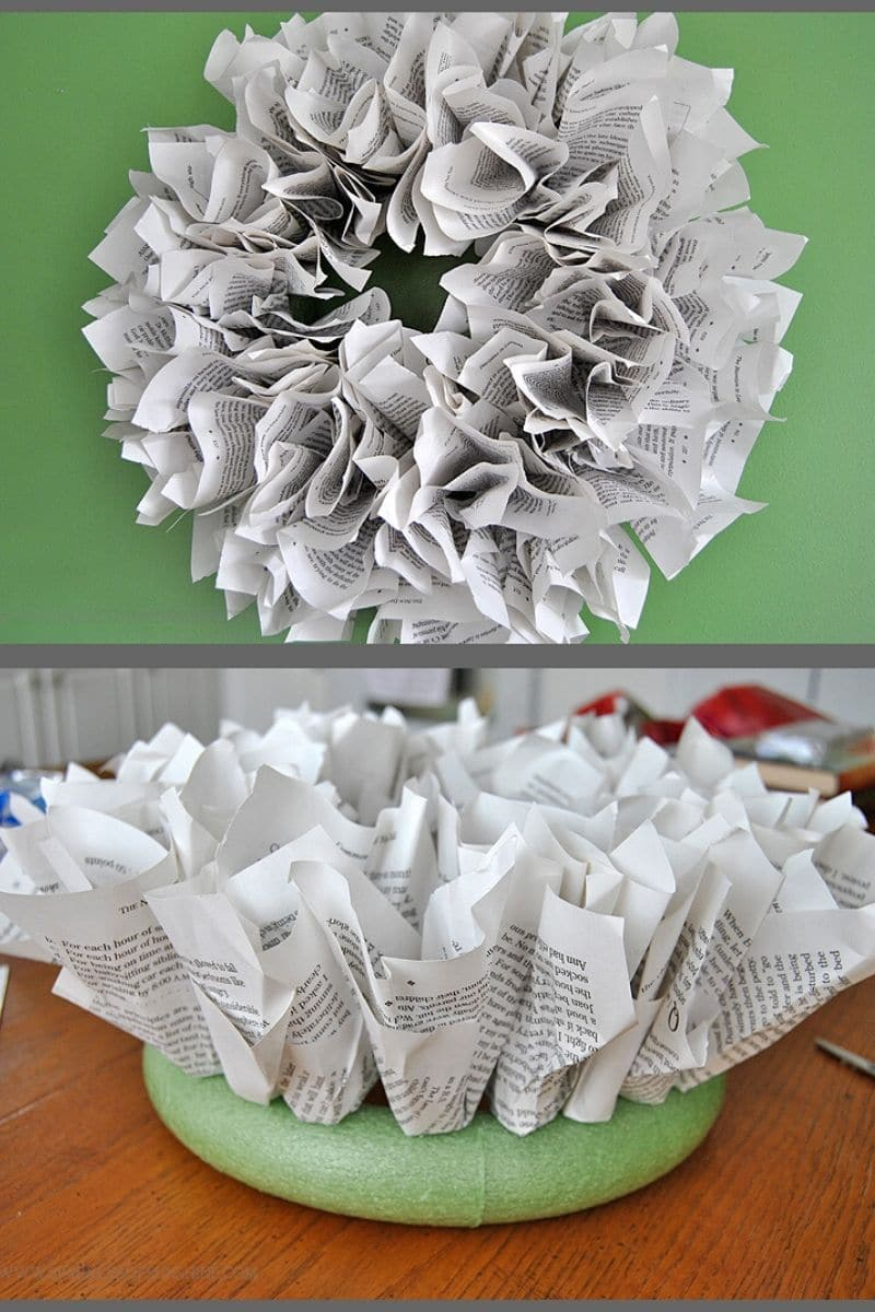 Crumbled paper wreath