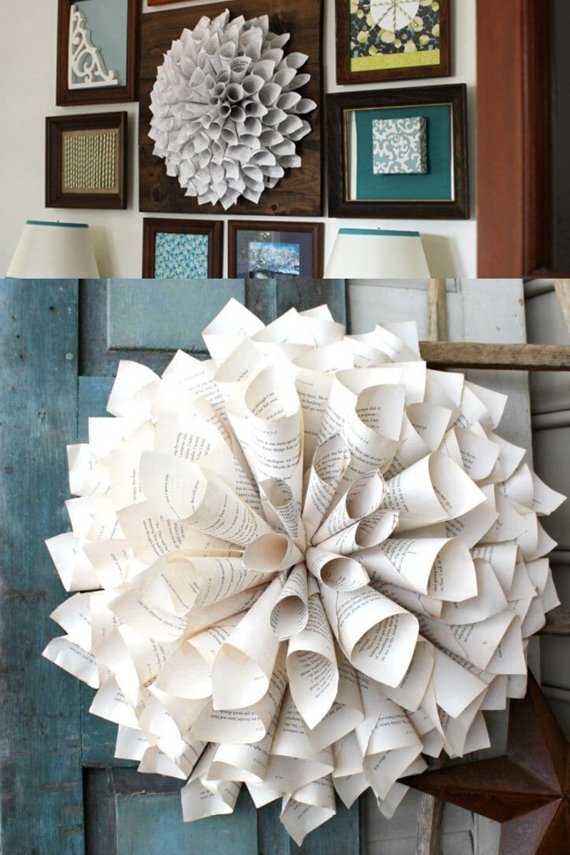 Dahlia paper wreath on awll