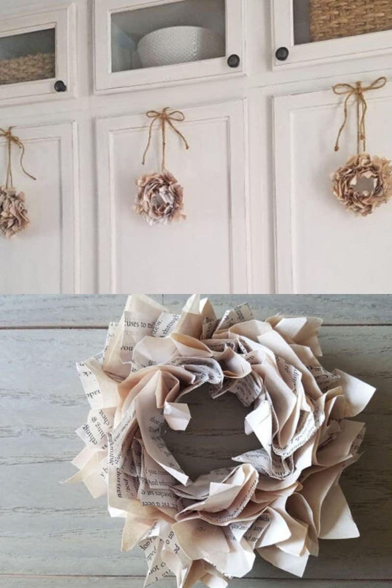 Mini book page wreath