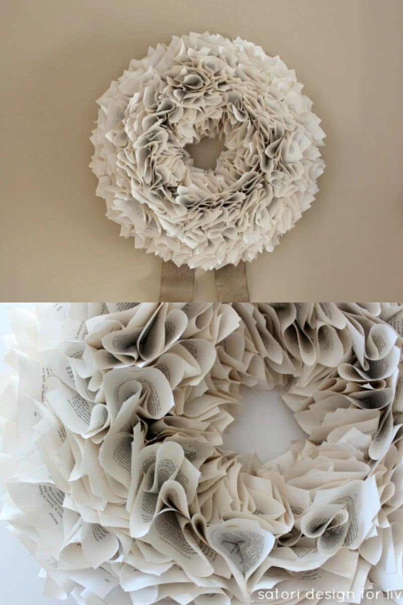 Crumpled paper wreath on wall