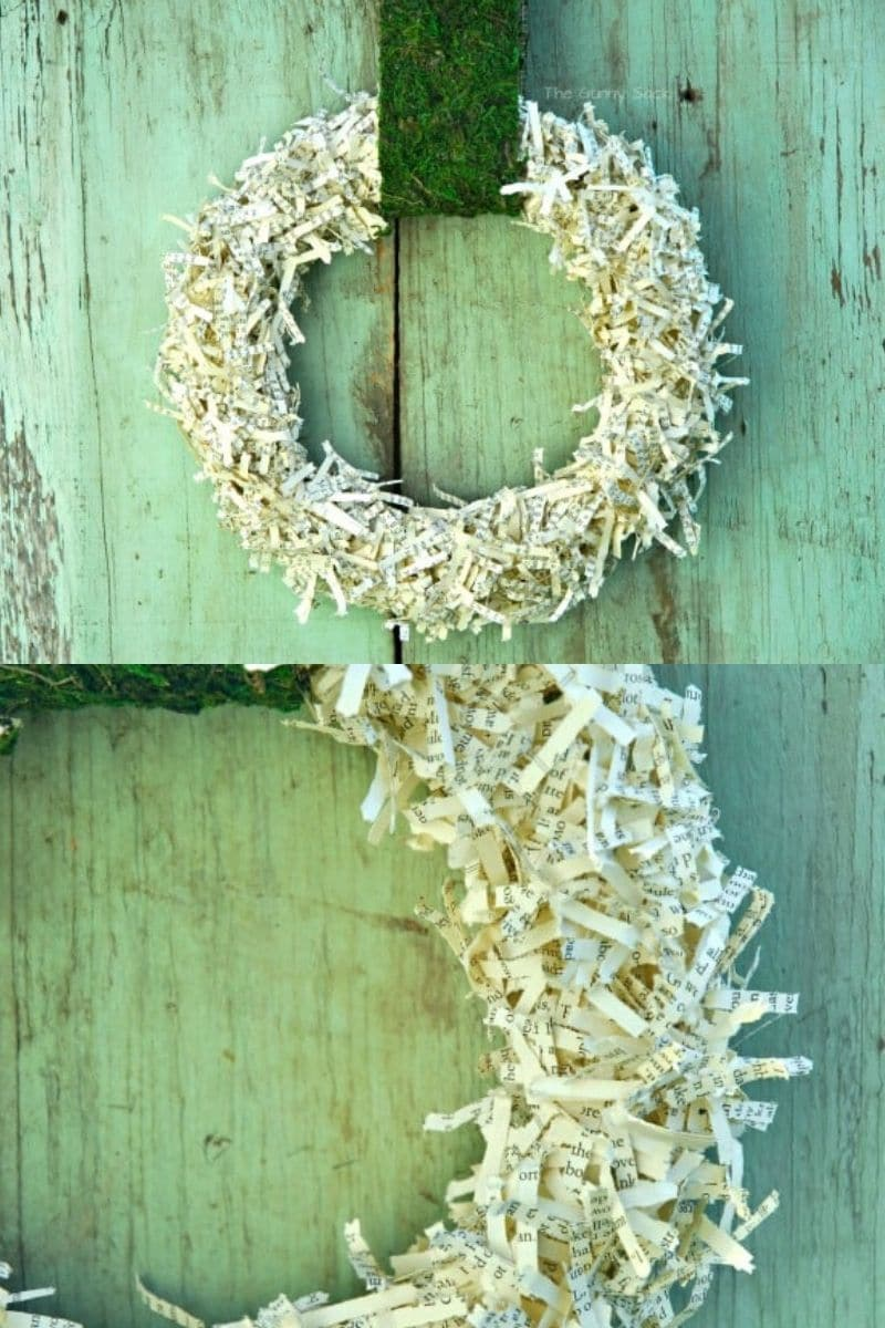 Shredded paper wreath