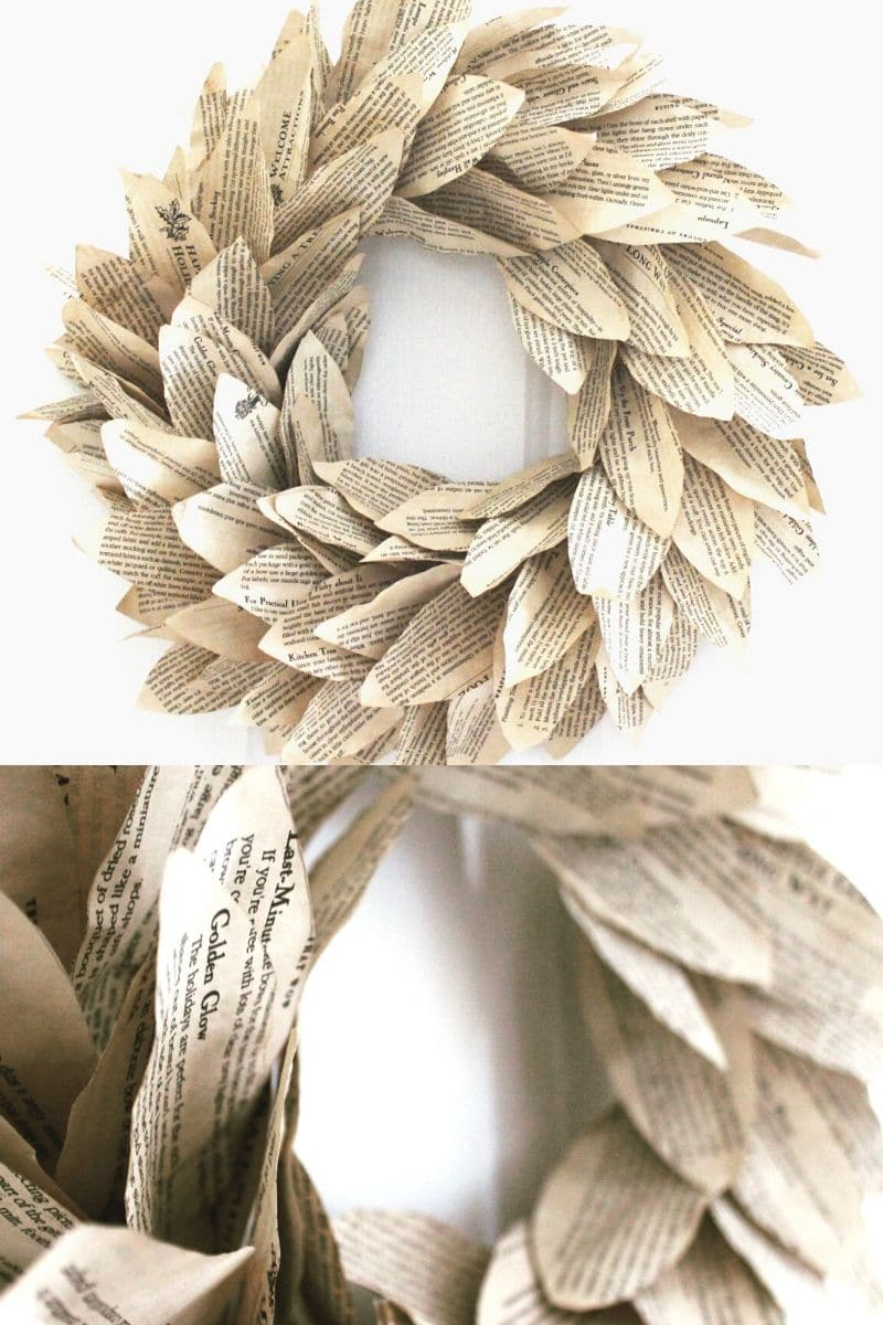 Book page magnolia wreath