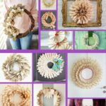 Book page wreath collage