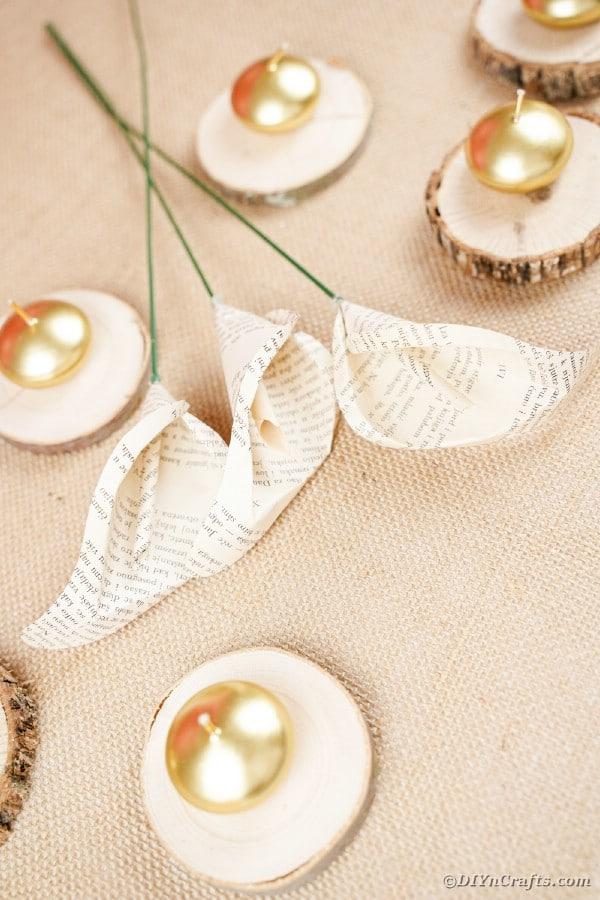 Paper calla lilies on burlap