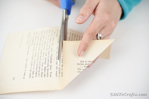 Cutting triangle of paper