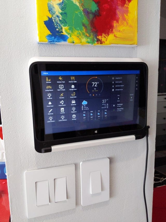 Tablet on wall