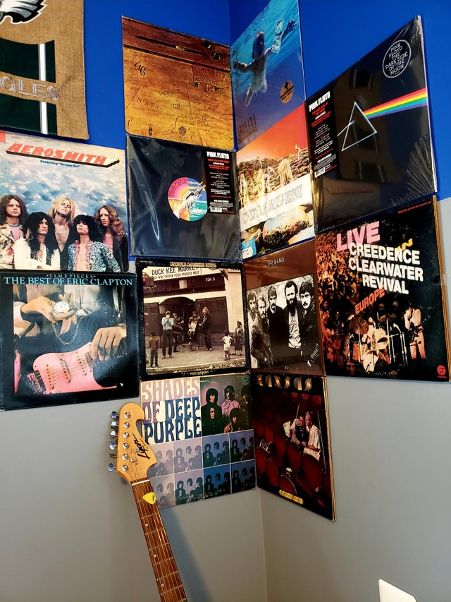 Vinyl records on wall