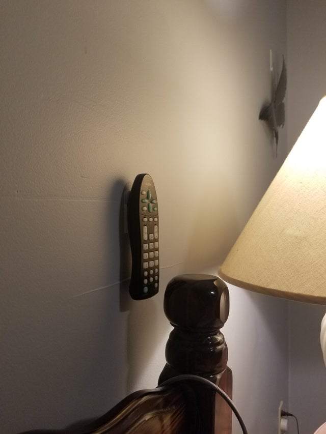 Remote control on wall