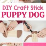 Craft stick puppy collage