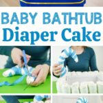 Diaper baby bathtub collage