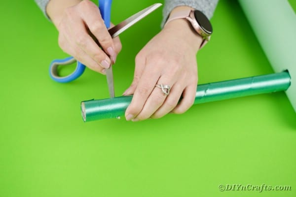 Cutting hole in small cardboard tube