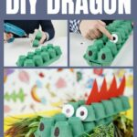 Egg carton dragon collage