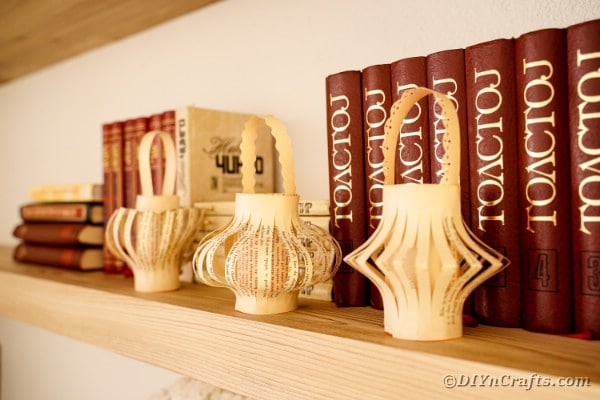Lanterns on a bookshelf
