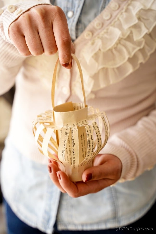 Woman holding paper lantern