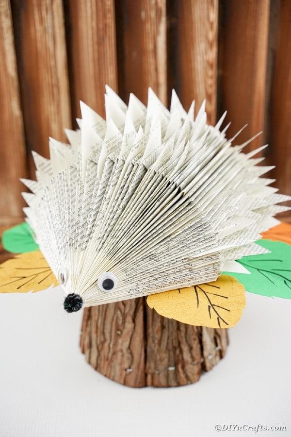 Book hedgehog in front of wood slats