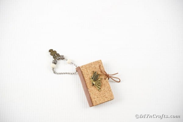 Old book page miniature book keychain