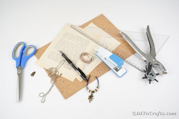 Supplies to make miniature book keychain