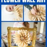 Old book page paper fan wall art collage