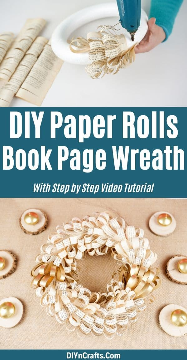 Paper rolls wreath collage