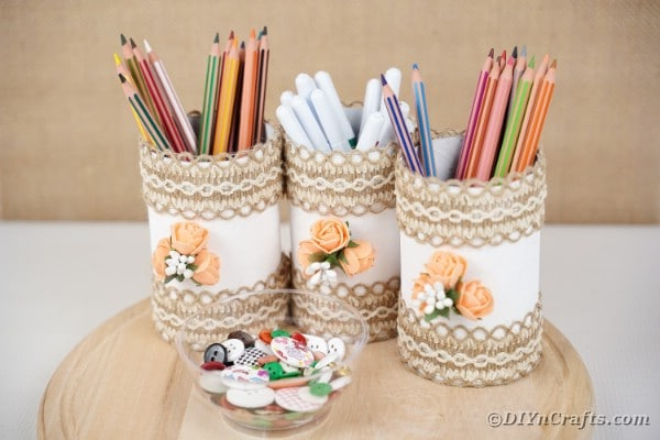 Storage cans filled with pencils