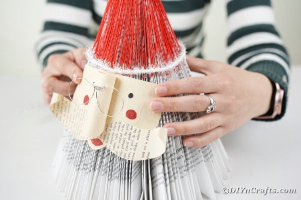 Gluing Santa face onto book