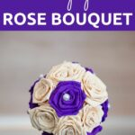 Purple and cream tissue paper ball on table