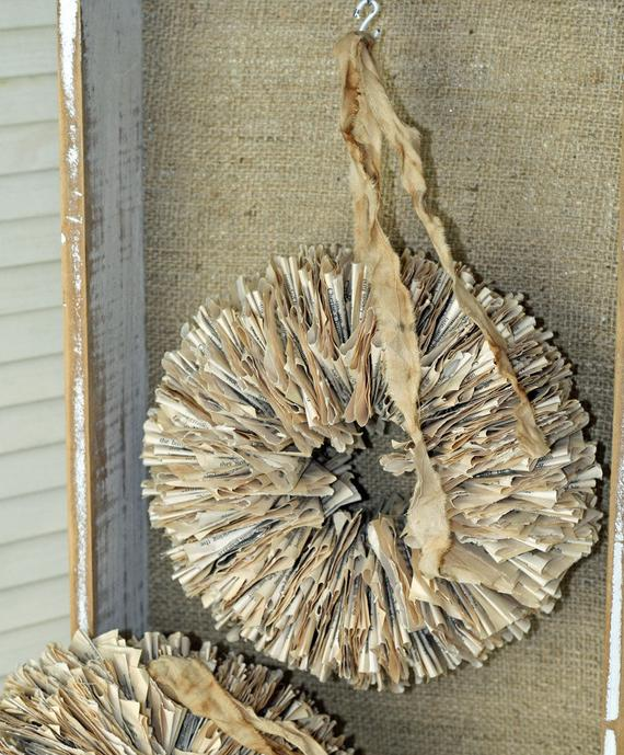 "Bookpage Wreath 10"" Handmade from Vintage Torn and Tattered Book Pages"