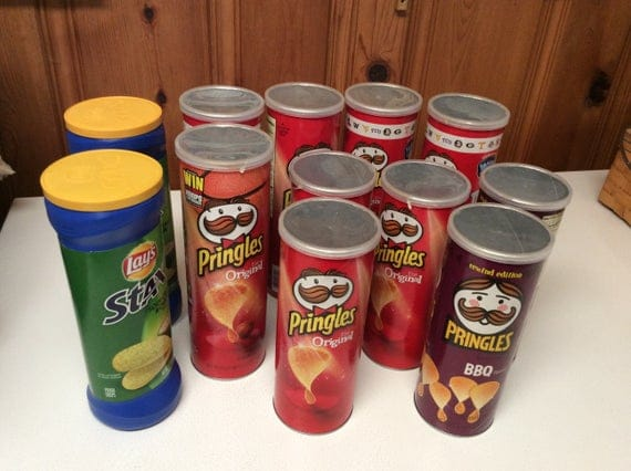Recycled Empty Pringles Lay's Stax Cans w/Lids