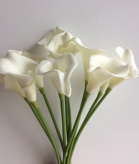 10 Stems Artificial White Calla Lily, Table Centerpieces Cally Lily Arrangemen, Silk Bridal Bouquets in 9 colors