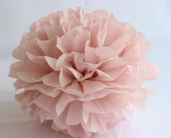 VINTAGE ROSE tissue paper pom pom