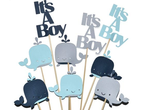 It's A Boy Whale Baby Shower Decorations Centerpiece Sets