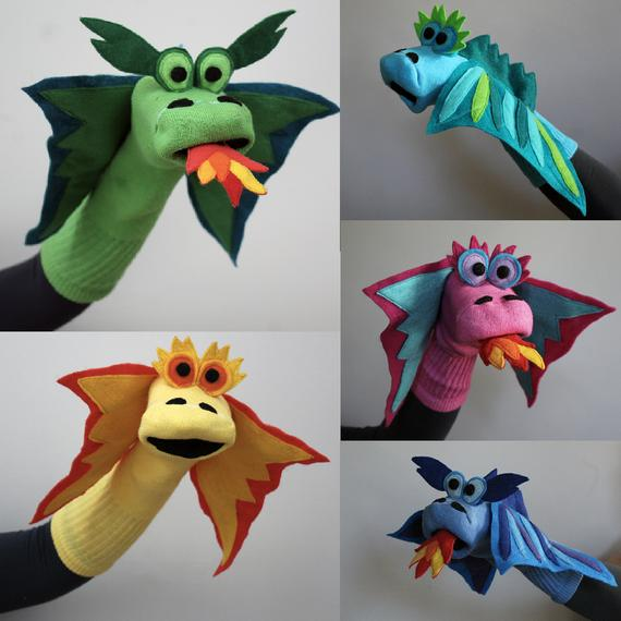 Design Your Dragon, Professionally Sewn, Couture Dragon Sock Puppet Handmade