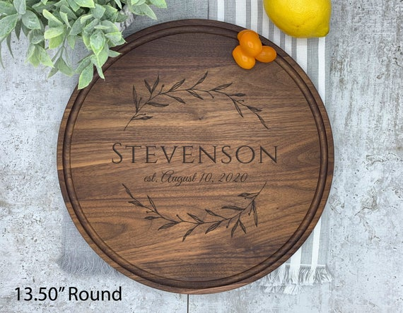 Charcuterie Board Round Large, Walnut Cutting Board Round