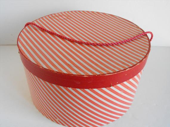 Vintage Red and White Striped Hat Box (2391)
