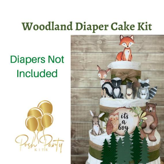 Woodland Creatures Diaper Cake Kit