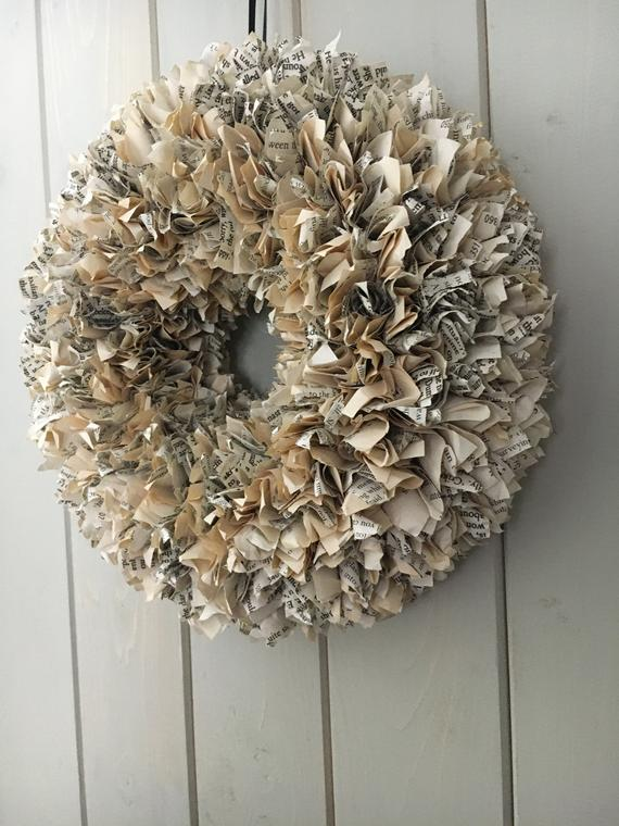 Small Up-cycled Book Wreath
