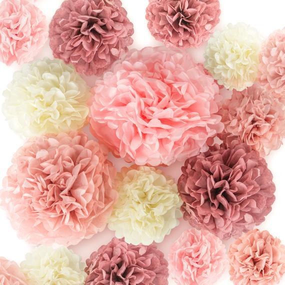 EpiqueOne 20 Pieces Blush Pink, Dusty Rose, Mauve, Cream Tissue Paper Pom Poms