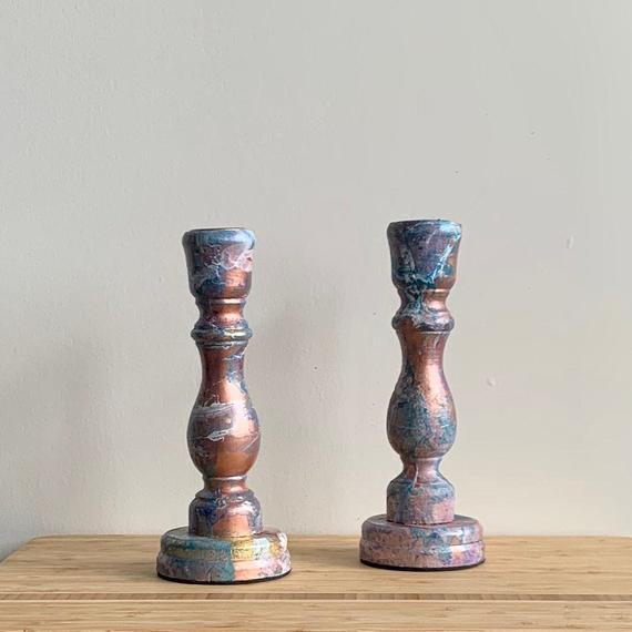 Marble Painted Wooden Candleholder Set