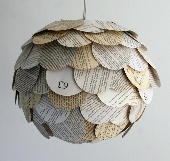 The Manhasset Mixed Book Page Pendant Light
